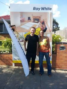 Purchasers of 80 Cavanagh Street, Cheltenham. All smiles after the auction.
